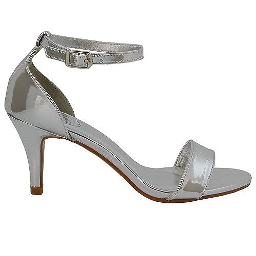 Poze DONNA ORO Satin Diamante Peep Toe Con Cinturino alla Caviglia