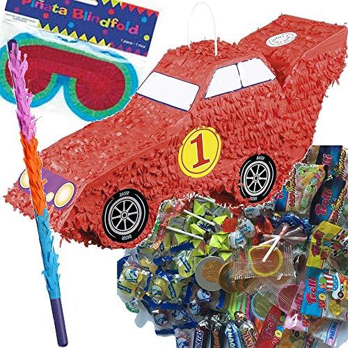 Rennauto-Party: Carpeta© Pinata - Juego de piñata (Incluye Carrito, máscara y Raqueta y 100 Piezas de Relleno de golosinas, Ideal para Fiestas de cumpleaños ...