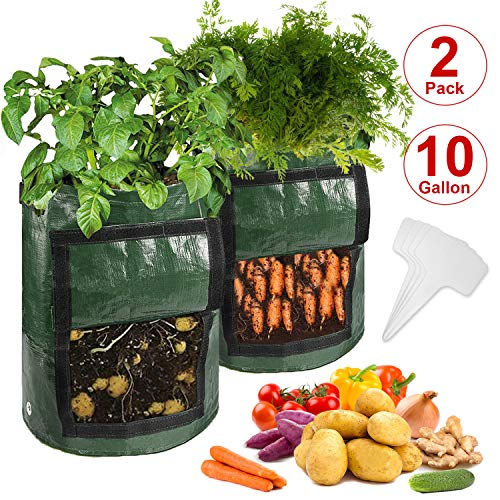 CicoYinG 2-Pack 10 Gallon Potato Grow Bags - Plant Growing Bags w/Drainage Holes & Access Flap & Handles, Garden Bag Plant Pot for Grow Vegetables, Plant Bags Fabric Pots w/4Pcs Plant Labels