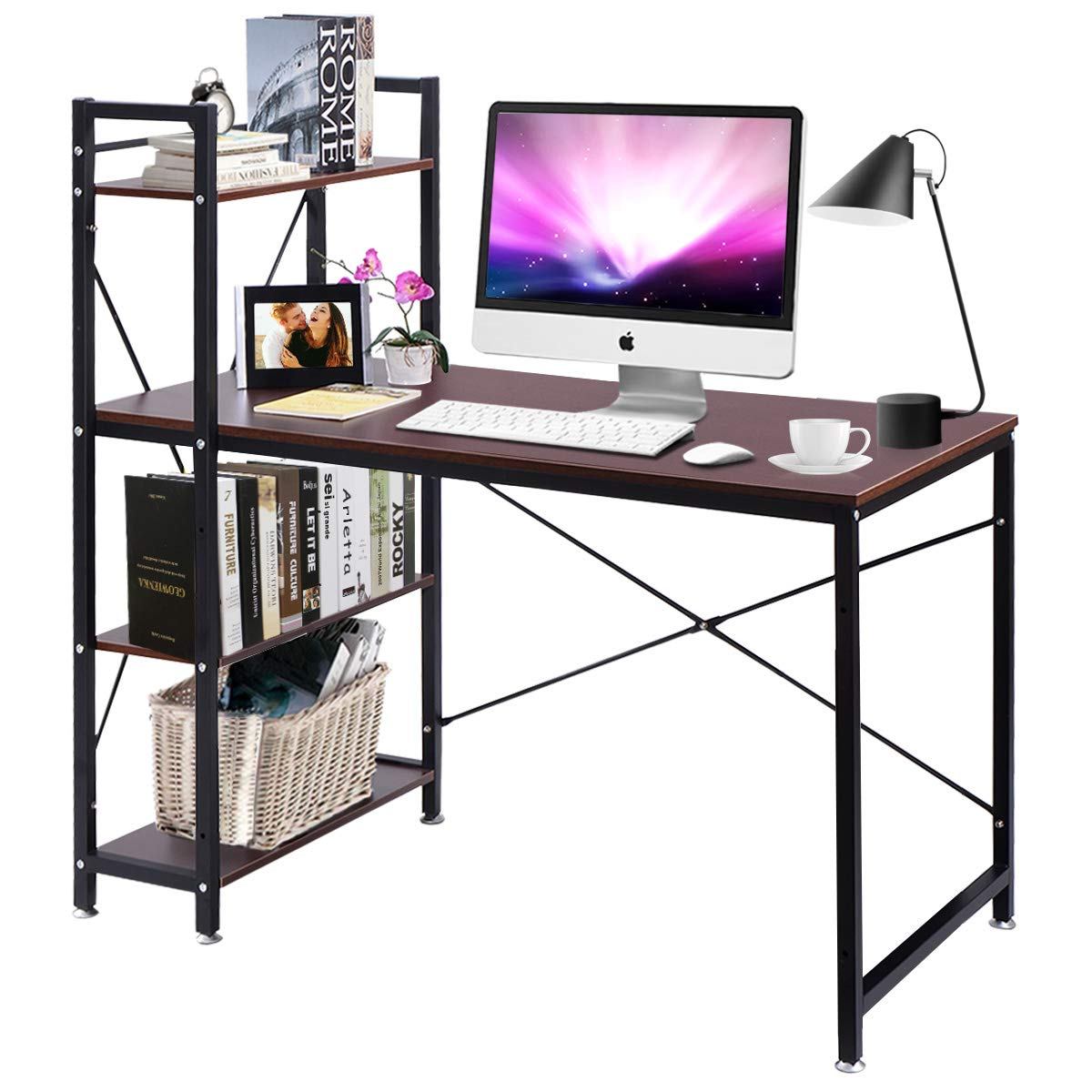 Tangkula 47.5'' Computer Desk, Modern Style Writing Study Table with 4 Tier Bookshelves, Home Office Desk, Compact Gaming Desk, Multipurpose PC Workstation(Brown) by Tangkula