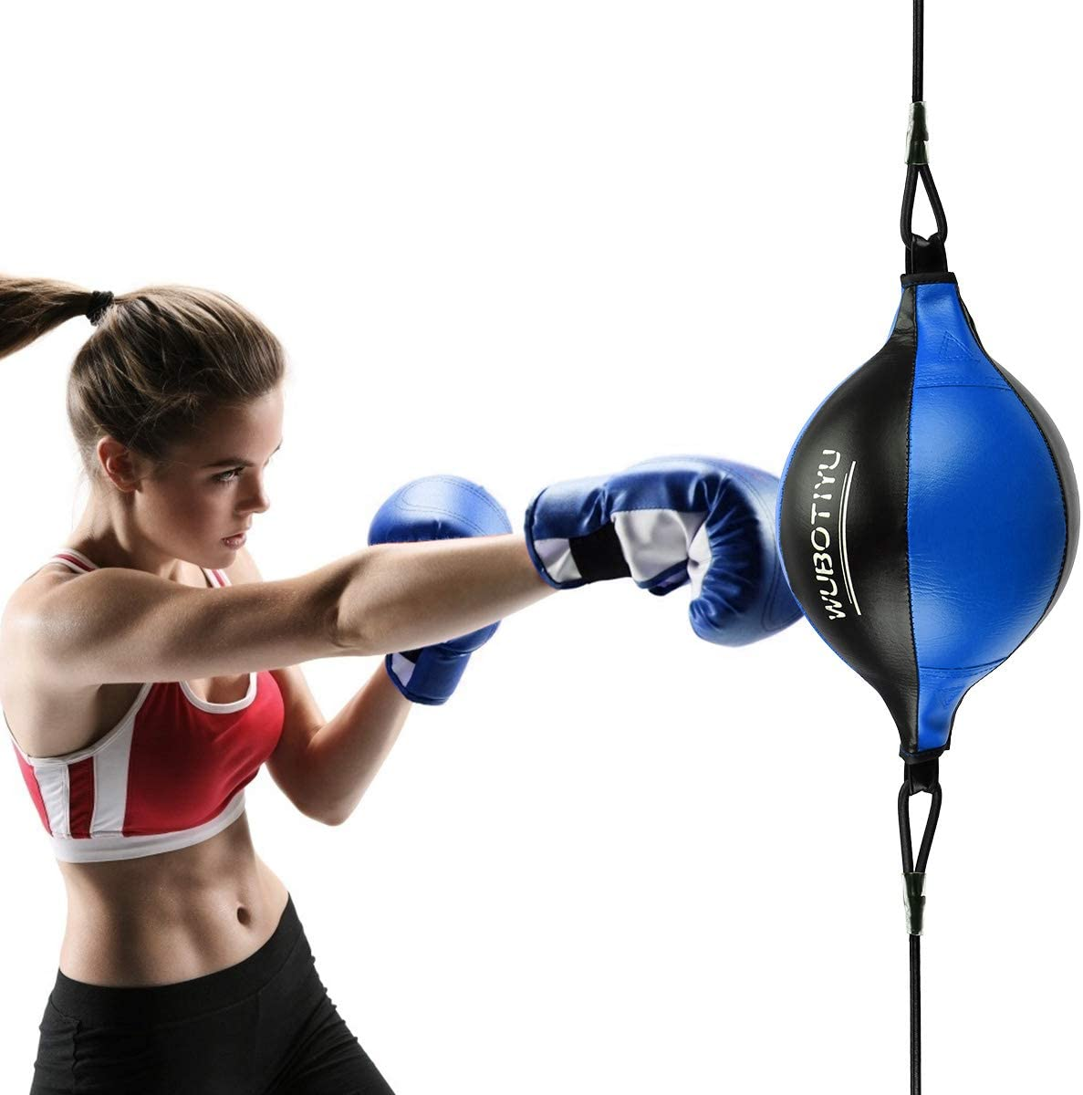 Portable PU Leather Boxing Speed Bag MMA Double End Dodge Ball Punching Training
