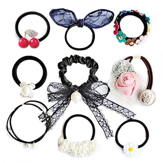 Hair Tie Rubber Band Hair Rope Hair Jewelry Hair Accessories 9 pcs (1) 4d40dcf4559