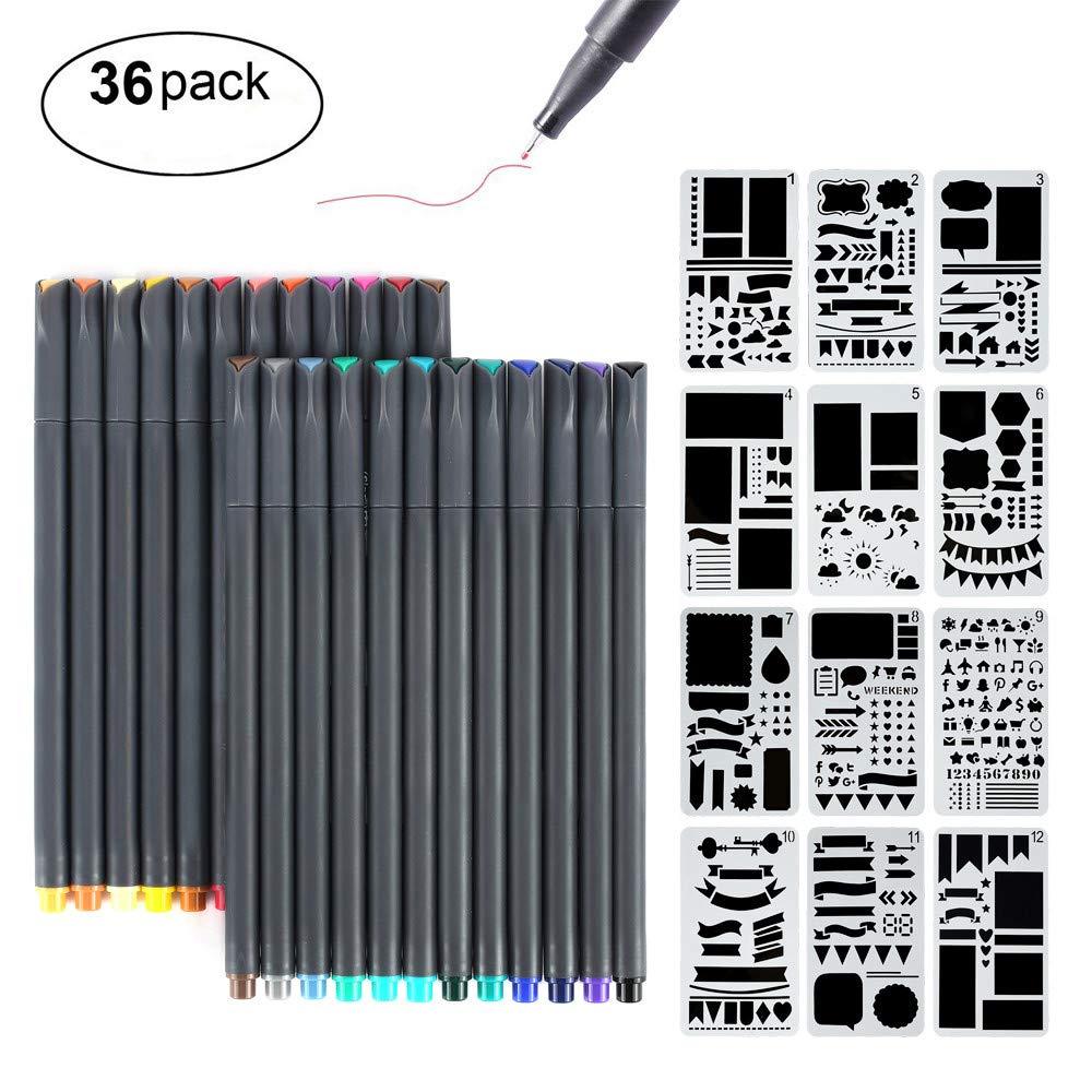 Bullet Journal Supplies, MaleDen 24 Colored Fine Tip Markers Planner Pens with 12 Journaling Stencils Set for Note Taking Notebook Scrapbook Calendar