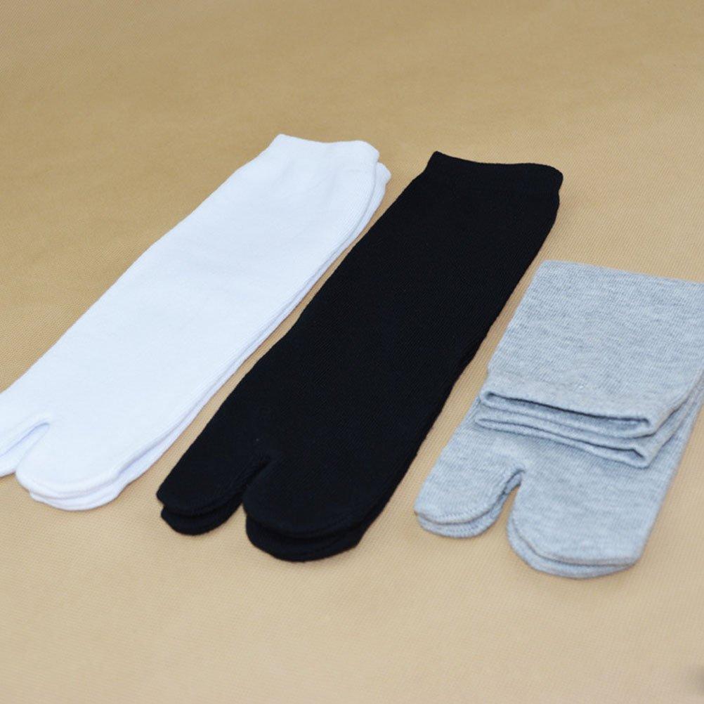 PIXNOR Tabi de algodón elástico de 3 pares calcetines del dedo del pie (blanco + gris + negro): Amazon.es: Bricolaje y herramientas