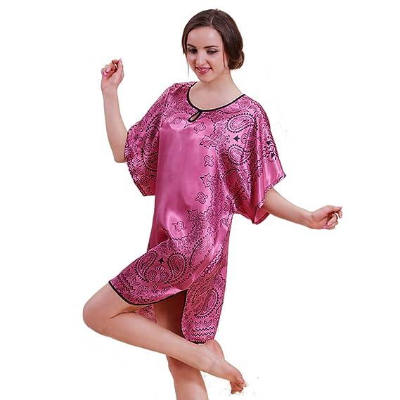 TT Global Vestido Pijama Mujer Kimono, Corto Bata de Satén Lencería Kimono Del Cordón Satén