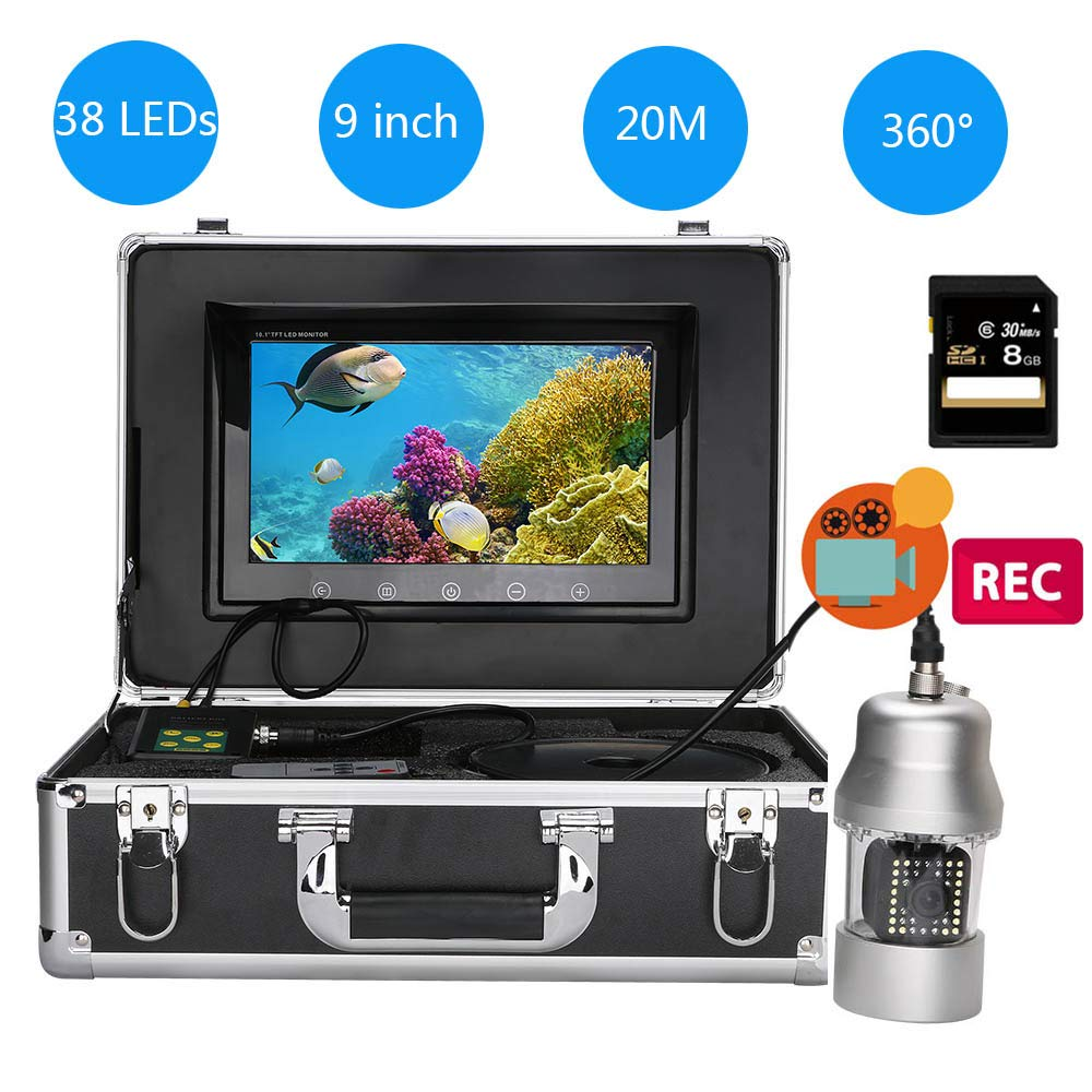 YUYUKUAILAI 9インチ DVR レコーダー 水中釣りカメラ ポータブル HD プロフェッショナル 360°回転カメラ 魚探知機 20M   B07MZ26JZZ