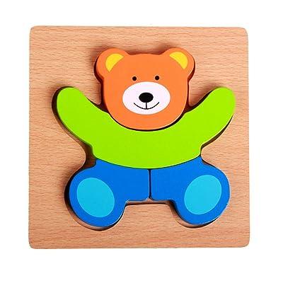 GGG Enfants Bébé Cartoon Animal Design Couleurs Puzzles en Bois Magnétiques Blocs de Construction - Petite Ourse