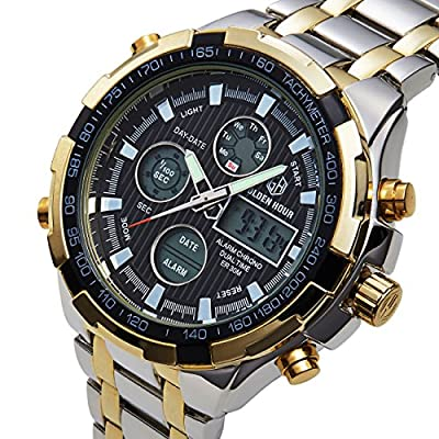 Tamlee Luxury Full Steel Analog Digital Watches for Men Led Male Outdoor Sport Military Wristwatch from Tamlee