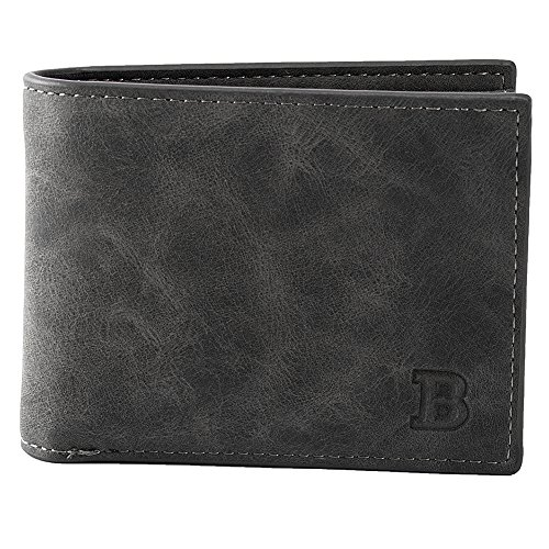 Angel3292 Men Vintage Faux Leather Short Wallet Casual Card Holder Thin Purse Zipper (Black)
