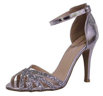 Krasceva Ladies Womens Stunning Stiletto Sparkly Evening Sandals Shoes (3