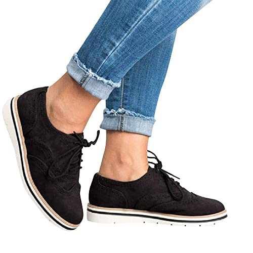 e63bd4c9 Sunmoot Women's Flat Shoes Suede Ankle Boots Girls Loafers Oxford Shoes Lace  Up Round Toe Spring