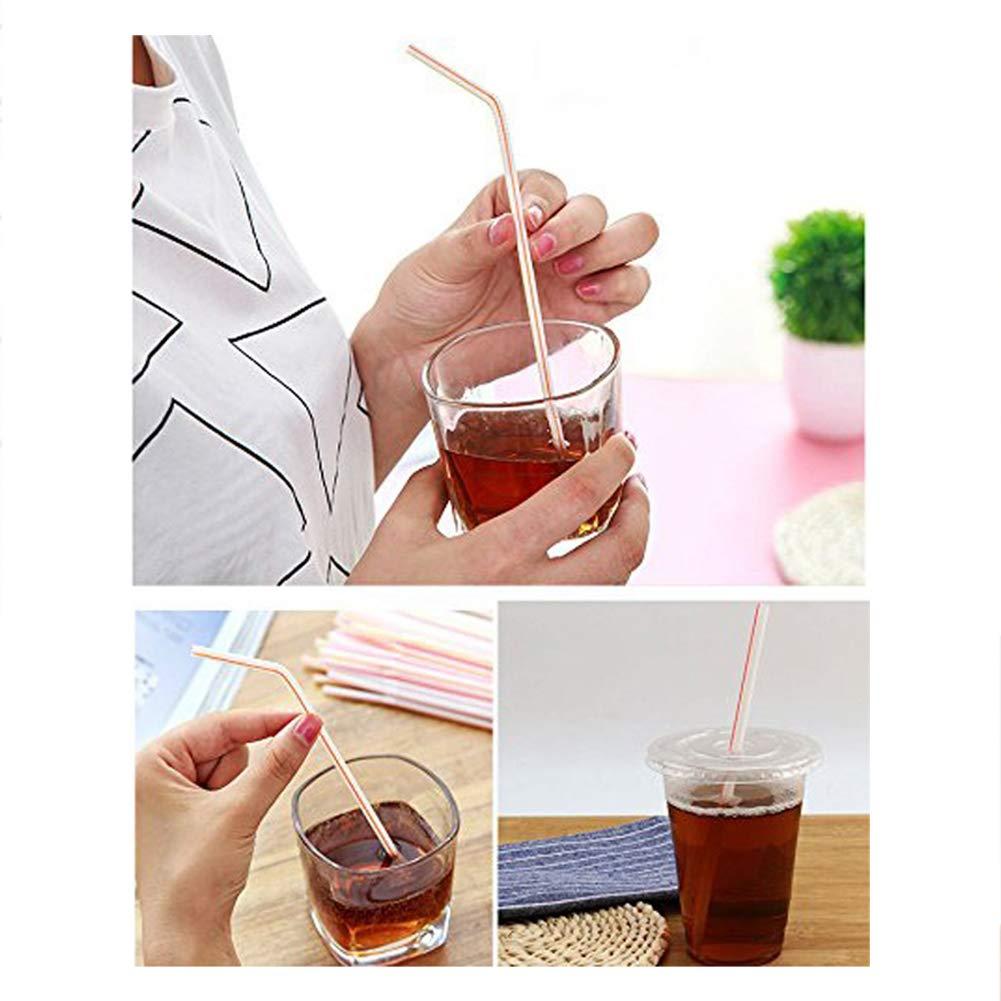 Xiton 200PCS Disposable Flexible Drinking Straws Colorful Bendy Plastic Straws Party Fun Straws Bendable Drinking Straws For Party Supplies