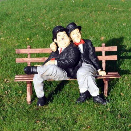 Dick und Doof auf Bank Dekoration Gartenfigur Garten Figur Stan und Olli Film