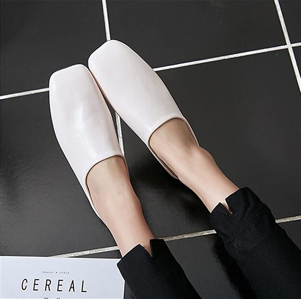 Simple Womens Shoes Solid Lok Fu Shoes Square Head Closed Toe Slippers excellent.c