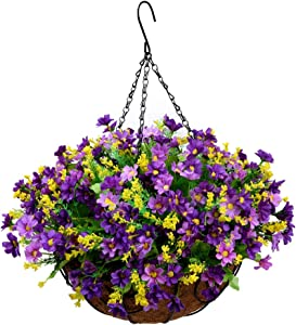Homsunny Fall Artificial Hanging Flowers in Basket Outdoor Indoor Patio Lawn Garden Decor, Hanging Daisy Basket with 12inch Coconut Lining Chain Flowerpot (Dark Purple)