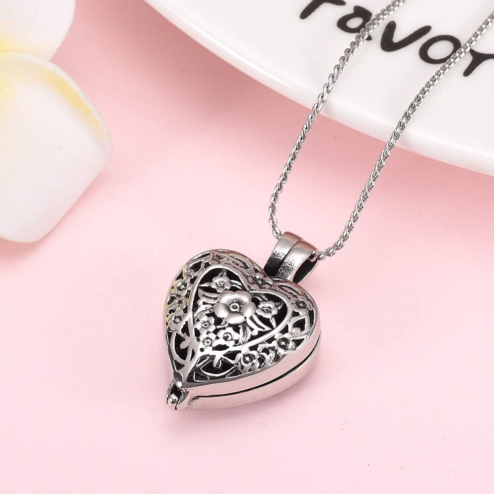 Metal Color: Silver, Main Stone Color: 3pcs Pendant Davitu K9958 Always in My Heart Cremation Jewelry for Ashes Pendant Holder Urns Stainless Steel Memorial Unisex Necklace for Men//Women