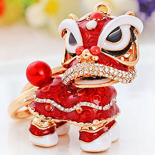 Chinese Lion Keychain Dance Pendant for The Christmas and Carnival (Right-Red) (Best Chinese Lion Dance)
