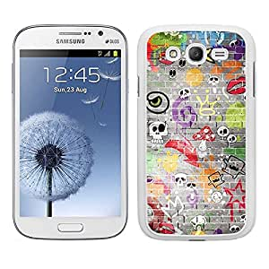 Funda carcasa TPU Gel para Samsung Galaxy Grand NEO Plus diseño estampado pared calaveras borde blanco