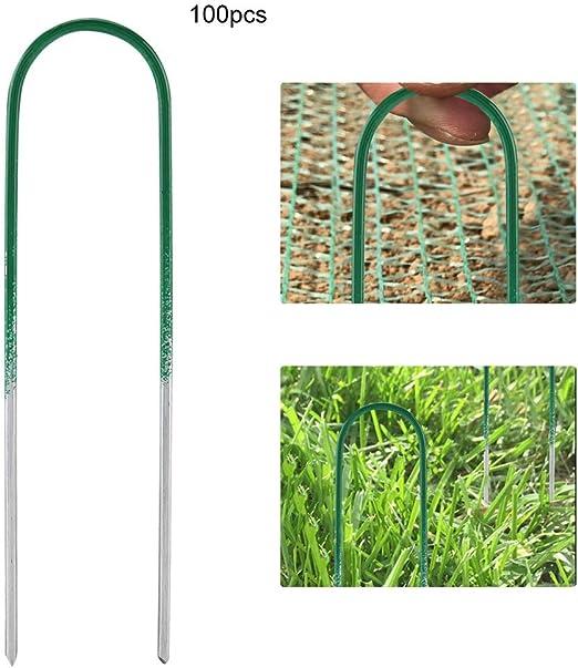 Solomi Estacas de jardín - Estacas de césped Artificial en Forma de U Estaca de jardín for Cerca de Tierra 100 Piezas: Amazon.es: Hogar
