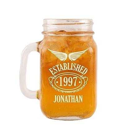 Personalised 18th Birthday Glass Mason Jar For Him Modern Ideas Keepsake Glassware Amazoncouk Kitchen Home