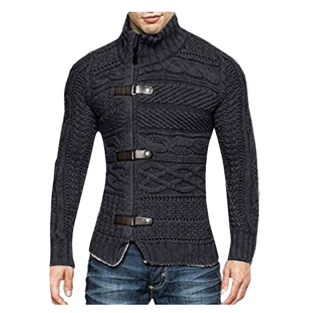 VZEXA Mens Sweaters Turtleneck Solid Knitted Slim Fit Jacket Zipper Long Sleeve Tops (Black,2XL) by VZEXA