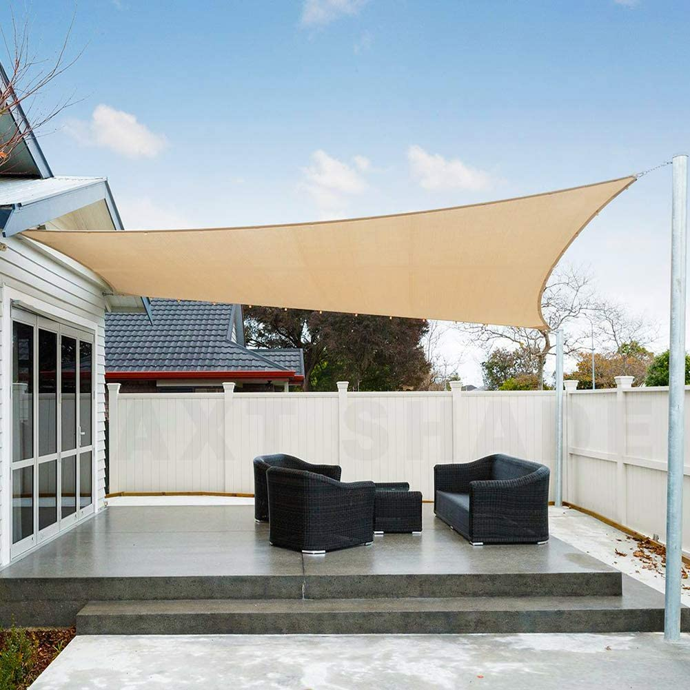 AXT SHADE Toldo Vela de Sombra Rectangular 3,5 x 5 m, protección Rayos UV Impermeable para Patio, Exteriores, Jardín, Color Arena