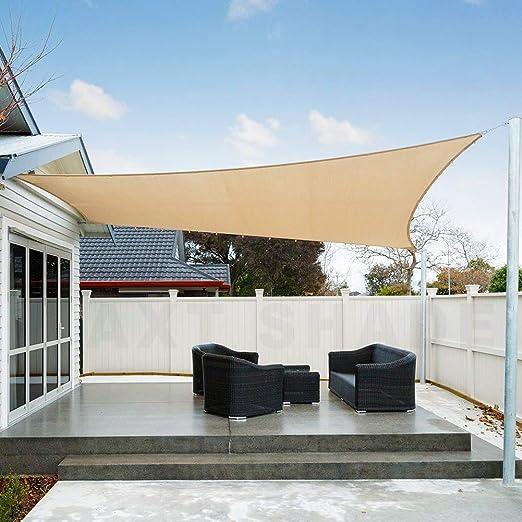 AXT SHADE Toldo Vela de Sombra Rectangular 3, 5 x 5 m, protección Rayos UV Impermeable para Patio, Exteriores, Jardín, Color Arena: Amazon.es: Jardín