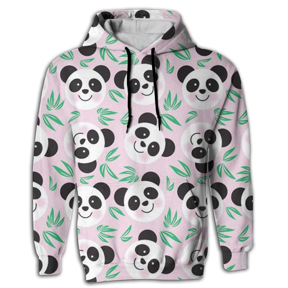 Happy Bamboo Pandas Mens Hoodie Sweater 3D Printed Fashion Athletic Pullover Hooded Sweatshirt