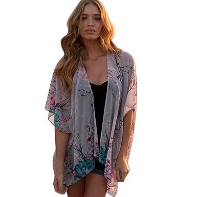 Malloom® Women Floral Chiffon Kimono Cardigan Tops Blouse: Amazon ...