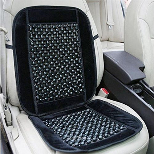 Zone Tech Black Wooden Beaded Plush Velvet Seat Cover Premium Quality Ultra Comfort Car Seat Cushion