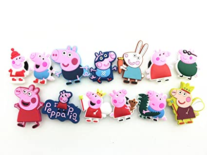 1d95b432866b5 Amazon.com  13pcs Peppa Pig New Shoe Charms for Jibbitz Croc Shoes ...