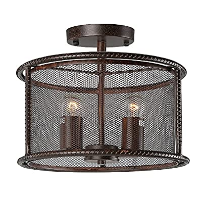 LNC Industrial 2-light Ceiling Light Fixture, Pendant Lamp with Metal Mesh Shade, Aged Steel Finish