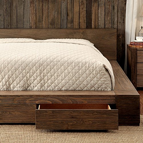Janeiro II Rustic Finish Cal King Size Bed Frame Set