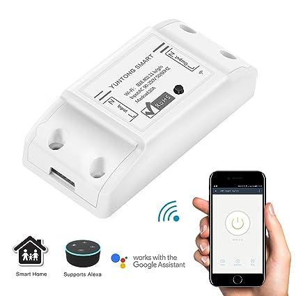 ABEDOE Wifi Wifi Módulo de Interruptor Inteligente Compatible con APP Control Remoto Funciona con Alexa Google