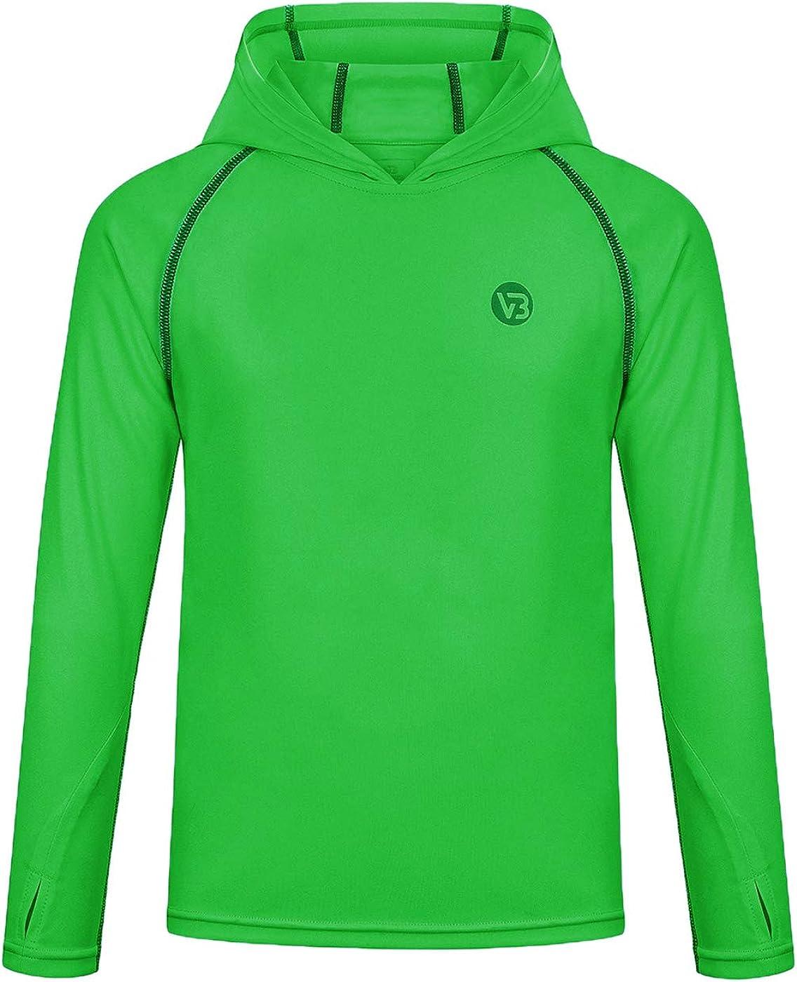 Sun Shirts Rashguard Quick Dry Long Sleeve Hoodies T-Shirts for Workout Thumbholes VEOBIKE Youth UPF50