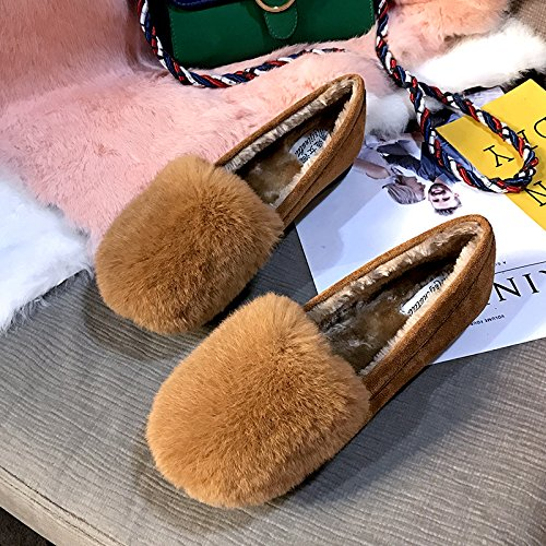 GAOLIM Soja Zapatos Zapatos De Mujer Otoño E Invierno Femenina Otoño Invierno Zapatos Única Hembra Grueso Brown