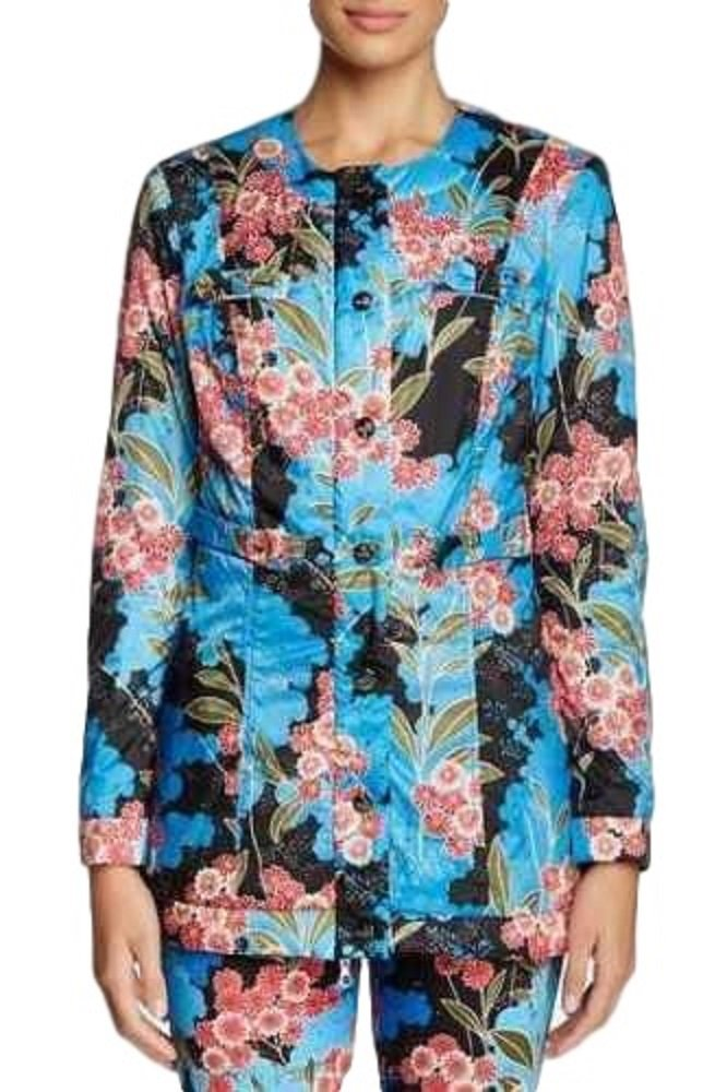 Love Moschino Blue Floral Jacket With Bow Detail Size 4 (SM)