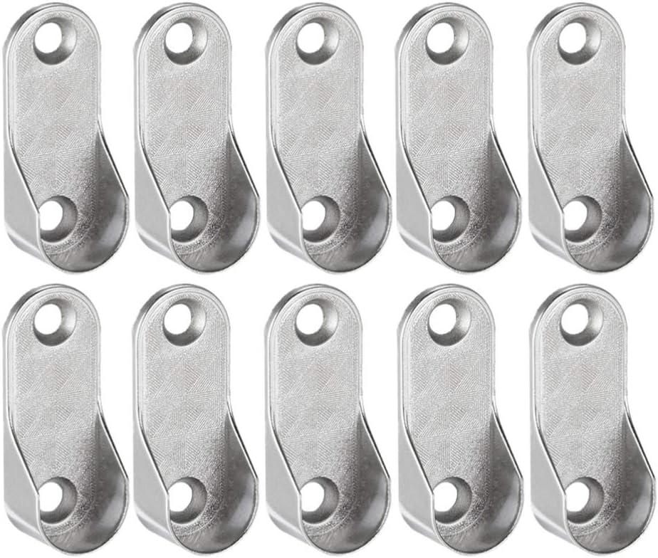 DOITOOL 12PCS Stainless Steel Wardrobe Closet Rod Bracket Oval Closet Rod End Supports Brackets with 24PCS Screws for Curtain Closet Shower Curtain Rod Socket Bracket Supports