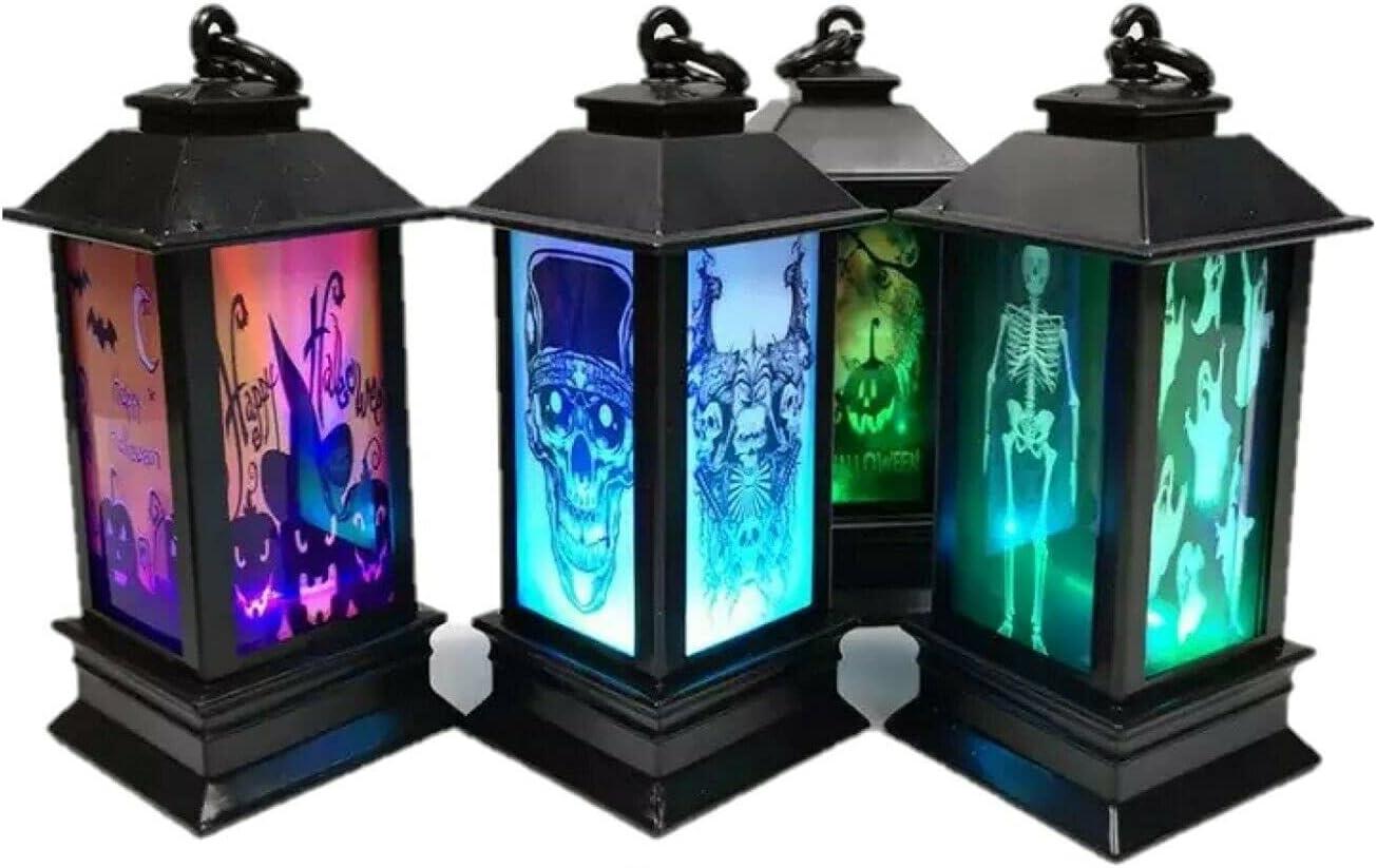 Set of 4 LED Light Up Halloween Lantern Candle Decorations