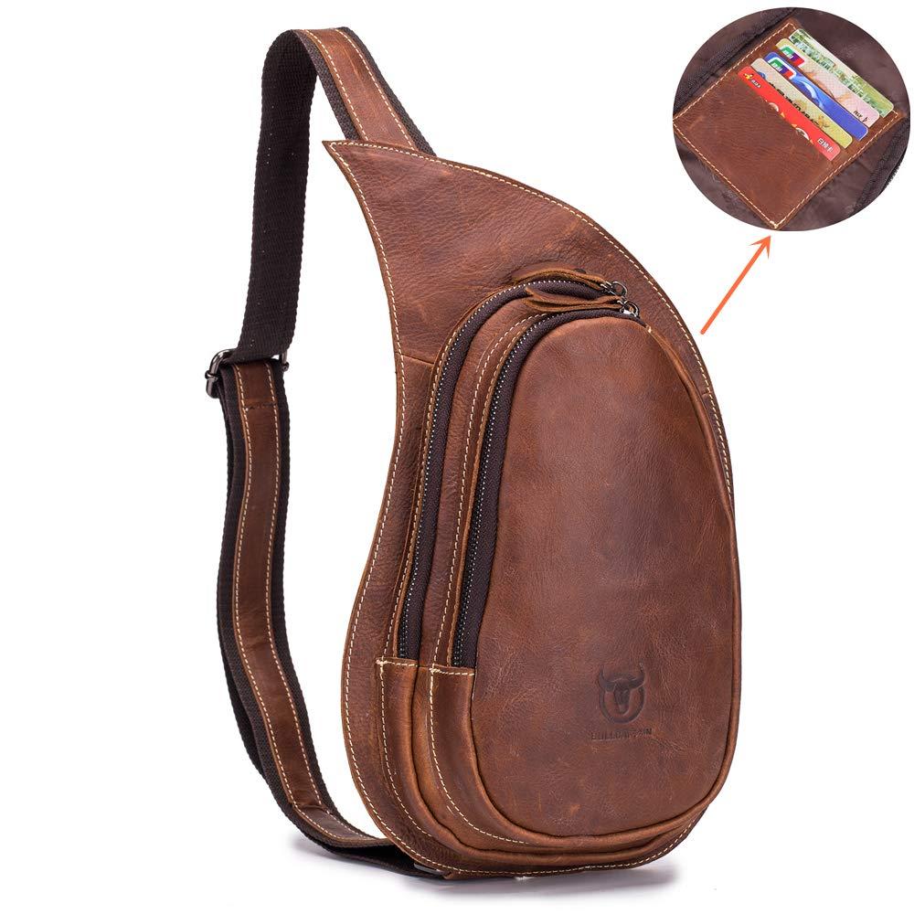 c176b63dd Amazon.com | BULLCAPTAIN Vintage Men's Leather Sling Bag One Shoulder Bag  with Card Slots Hiking Travel Crossbody Bag Backpack for Men XB-123 (Brown)  ...