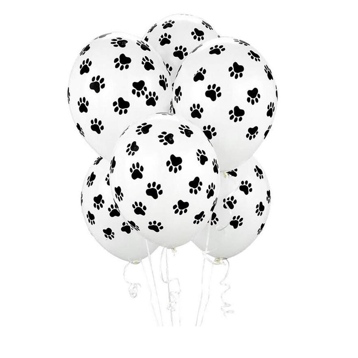 Sc0nni 25Pcs Cute Dog Footprints Print Balloons For Birthday Party