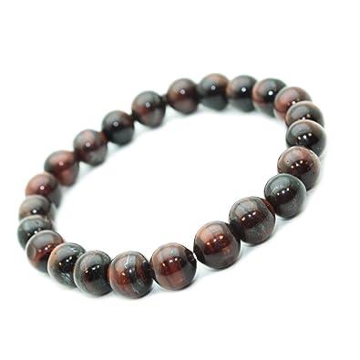 Bracelet Oeil de taureau oeil de tigre rouge en pierre semi,précieuse  perles de 8