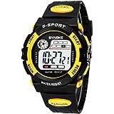 子供腕時計 キッズ腕時計 デジタルウォッチ 曜日表示 ストップウォッチ 30m防水 アラーム機能 夜光 男女兼用