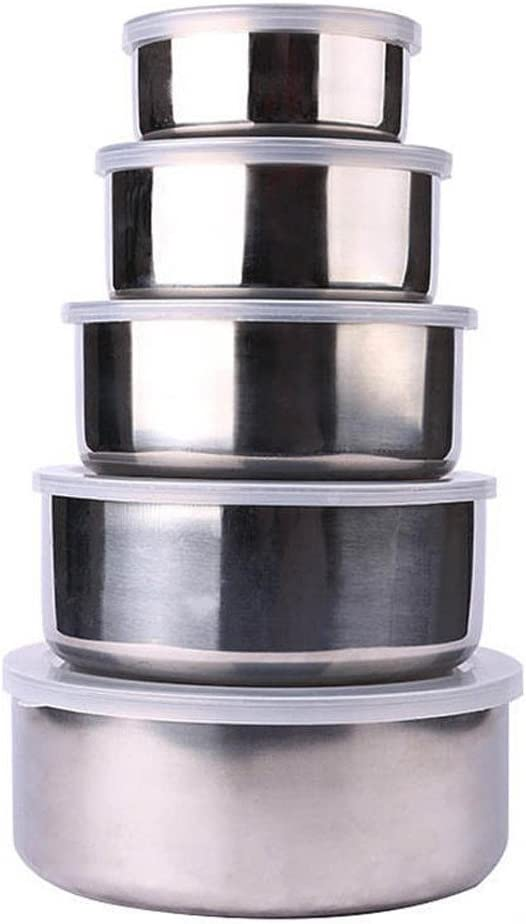 NszzJixo9 5 Pcs Stainless Steel Home Kitchen Food Container Storage Mixing Bowl Set for Cooking & Serving - Easy to Clean - Great Gift Cooking, Baking, Prepping