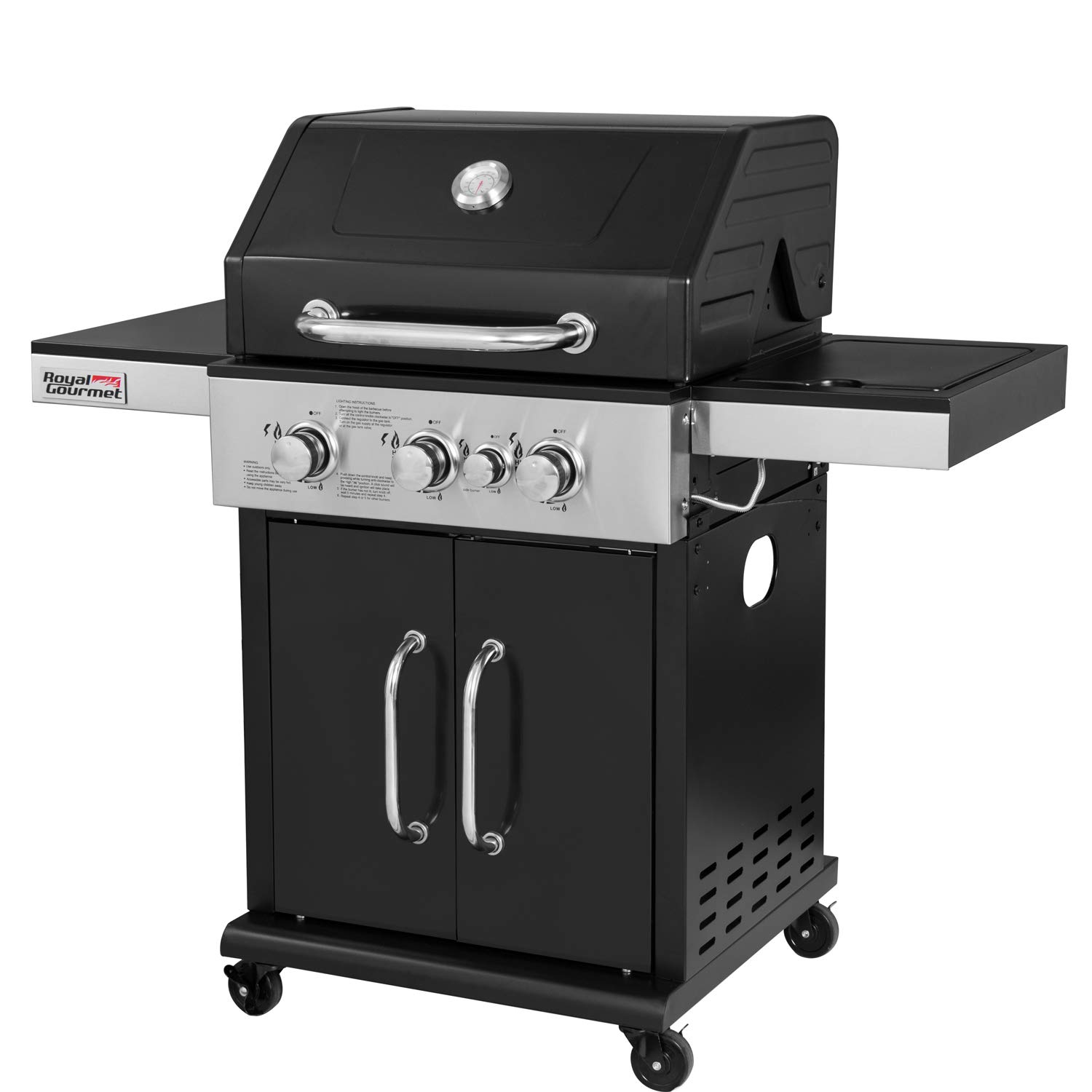 Royal Gourmet GG3201S Cabinet Liquid Propane Gas Grill with Side Burner, for Outdoor Cooking Camping, 3-Burner, Black