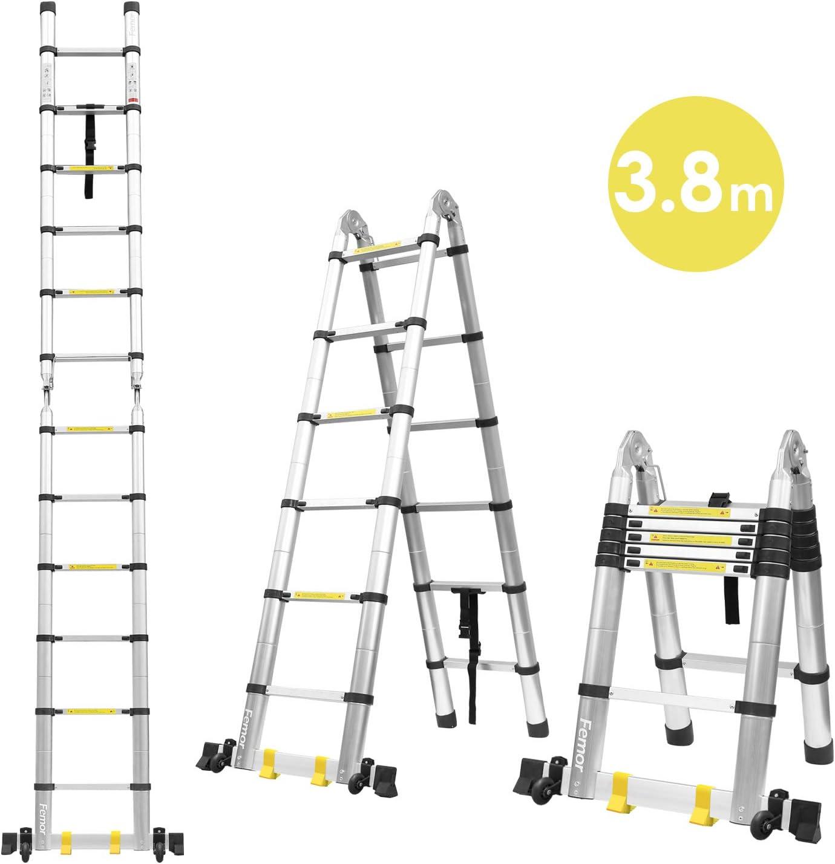 Fixkit - Escalera telescópica de escala plegable, retráctil, de aluminio, 2,6 m, 3,2 m, 3,8 m, 5m.: Amazon.es: Bricolaje y herramientas