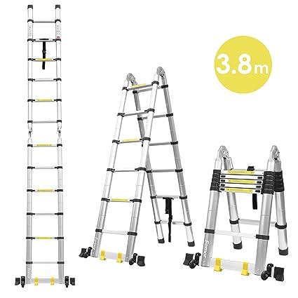 Fixkit Echelle Télescopique Escabeau Telescopique Echelle Pliante Echelle Escamotable En Aluminium 2 6m 3 2m 3 8m 5m 3 8m Pliante