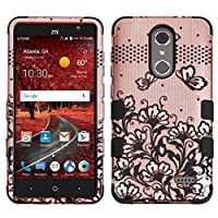Asmyna Cell Phone Case for ZTE Grand X4 - Black Lace Flowers (2D Rose Gold)/Black