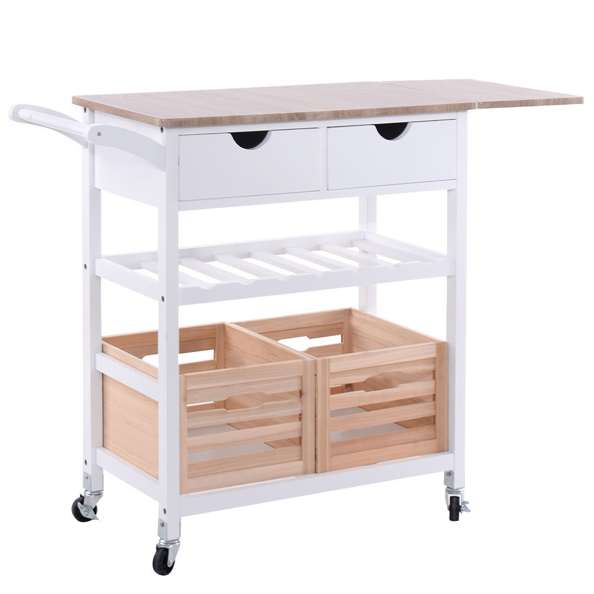 Amazon.com   Costzon Kitchen Trolley Island Cart Dining Storage With  Drawers Basket Wine Rack   Kitchen Islands U0026 Carts