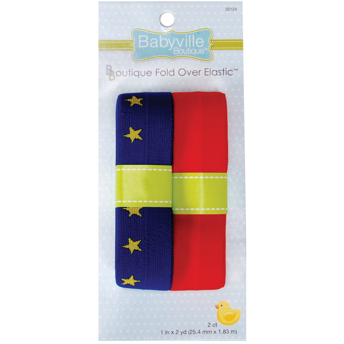 Dritz Babyville Boutique Fold Over Elastic, Stars and Solid Red 35124